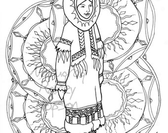 Sunshine Woman - hand drawn Alaska Native coloring page - download and print your own