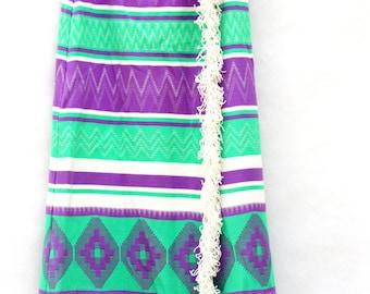 Vintage 60s-70s Maxi Wrap Skirt Southwestern Hippie Hipster Retro Mod
