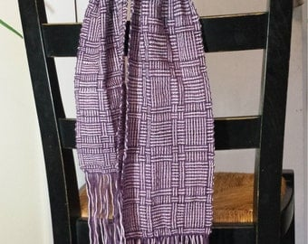 Handwoven scarf, log cabin style, plum and pink