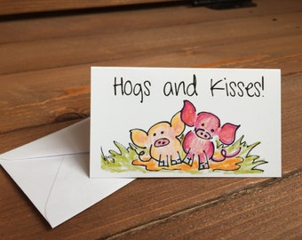 Hogs and Kisses Enclosure Card, Pig Card, Lunch Box Notes, Lunchbox Notes, Love Notes, Cards for Kids - 2 x 3.5 Mini Note Card with Envelope