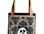 Panda Bag with Zipper,  Bag with Genuine Leather Handles, ECO Suede, OOAK, Ready to Ship, Shoulder Bag