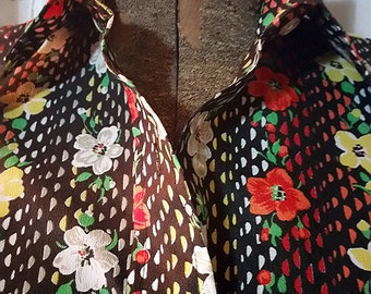 Vintage Black Long-Sleeved Button Up Blouse with Red, White and Yellow Flowers - 70s