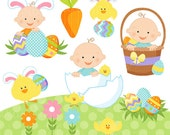 Easter Baby Boys Cute Digital Clipart - Commercial Use OK - Easter Baby Clipart - Easter Clip art, Easter Graphics