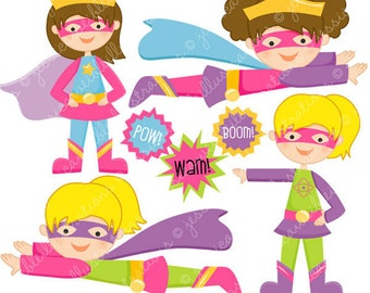 Super Hero Girls Cute Digital Clipart for Commercial or Personal Use, Super Hero Clipart, Girl Hero
