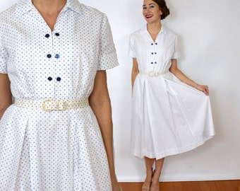 40s White Dotted Dress | Cotton Day Dress, Small