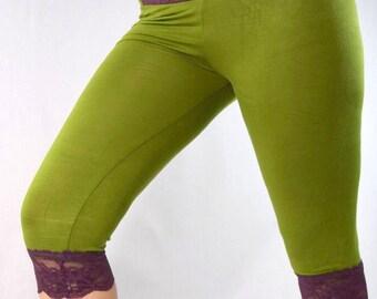 Women's Bike Leggings// Lace Bloomers // Super Comfortable // Soft // Med // Stretch Lace Leggings // Purple/Green