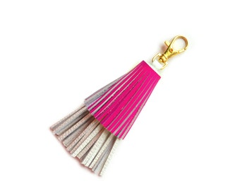 Tassel Key Chain, Pink Tassel, Leather Tassel Purse Clip, Clip On Tassel, Fringe Key Chain, Bag Purse Charm, Leather Key Fob, Custom Tassel