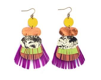 Fringe Earrings, Leather Earrings, Geometric Earrings, Metallic Earrings, Copper Earrings, Marbled Earrings, Statement Earrings