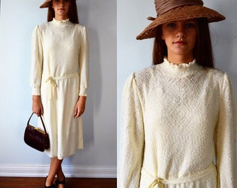 Vintage Cream Knit Dress, Casual Dress, Fall Dress, Lady Anne, Long Sleeved Dress, 1960s Knit Dress, 1960s Dress