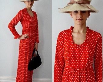 Vintage Maxi Dress, Red Polka Dot Maxi Dress, 1970s Maxi Dress, 1970s Dresses, Summer Dress, Casual Dress