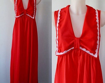 Vintage Red Nightgown, Red Nightgown, Snowdon, 1970s Nightgown, Nightgown, 1970s Lingerie