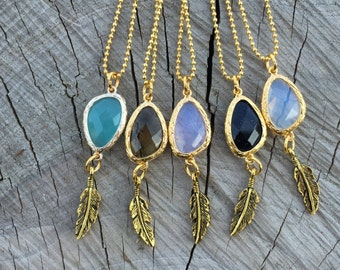 Crystal Stone Necklace/ Dainty Pendant/ Smokey Quartz/ Aquamarine Stone/ Quartz Necklace/ Bohemian Jewelry/ Natural Gem Stone/ Crystal Jewel