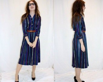 1970s Striped Day Dress Blue Purple White Teal Brown Green Rhinestone Buttons Shirt Waist Dress Vintage Retro 70s Hipster Office Teacher