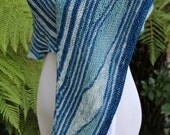 Blue Many Rivers Pure Merino Wool Asymmetrical Shawl or Scarf