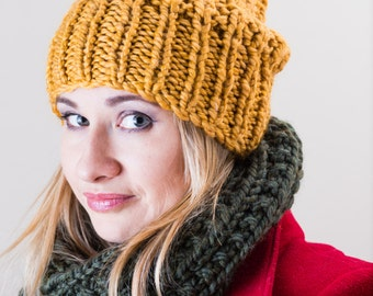 Goldenrod Yellow Chunky Slouchy Hand Knit Hat
