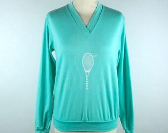 Vintage Tennis V-Neck Top by Elaine Benedict
