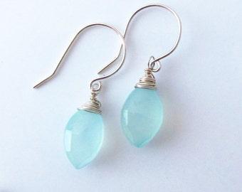 Wire Wrapped Aqua Blue Chalcedony Earrings-Blue Gemstone Earrings-Blue Chalcedony Jewelry-Wire Wrapped Blue Earrings-Sterling Silver