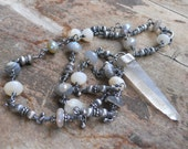 RESERVED/SOLD LISTING....Peace            Lemurian Crystal Mystic Moonstone Silver Chain Necklace