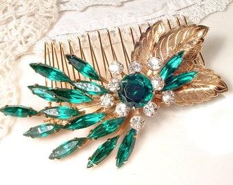 Vintage Emerald Green Rhinestone Bridal Hair Comb, Emerald Crystal Wedding Headpiece, Gold Brooch to OOAK Large Leaf Spray Emerald Hairpiece