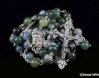 Catholic Rosary Beads Green White Moss Agate Silver Tradtional Natural Stone Five Decade Unisex Gift Mens Rosary