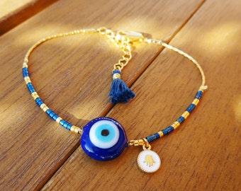 Gold Blue Evil Eye Beaded Bracelet with Tassel  - Minimalist Evil Eye Bead Bracelet -  Blue Tassel Bracelet