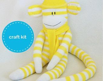 Stuffed toys, Sock Monkey Craft  Kit - Yellow and White Stripes, Toy Pattern