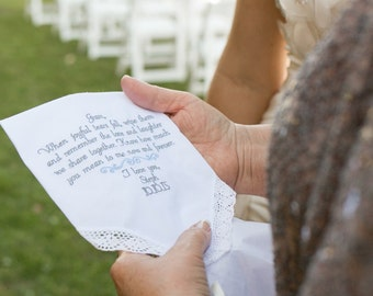 Gift For Grandma - Embroidered Wedding Handkerchiefs Wedding Gift for Grandma of the Bride or Groom by Canyon Embroidery