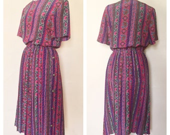 Multicolored Leslie FayDress // Aztec Floral Design // Pink, Purple, Gray, Green