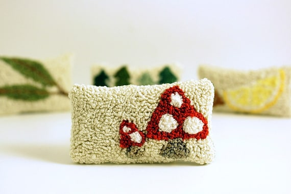 Miniature Sachet - Toadstool. Lavender, Maine Balsam Fir, Eucalyptus. Red, White, Cream. Punch Needle Embroidery.