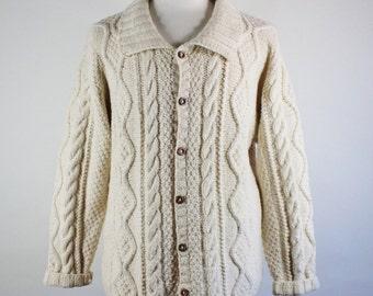 Fisherman Sweater. Cardigan Sweater. Wool Cable Knit Cardigan. Cream Sweater. Fall Winter Sweater. Mens Size Large. GOGOVINTAGE