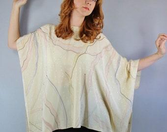 70s Silk Blouse, Cream Ecru Silk Watercolor Plus Size Hippie Festival Boho Poncho Blouse Summer Fashion Top, Women's Large, FREE SHIPPING