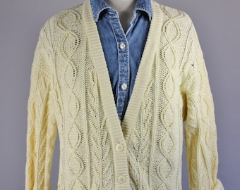 Vintage 90s Women's Bright Lemon Yellow Cable Knit Spring Summer Cotton Office Cardigan Sweater