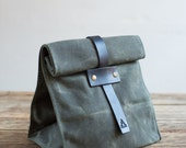 Lunch Tote w/ Tab Closure in Olive Waxed Canvas & Black Leather