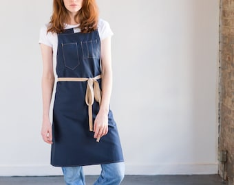 Culinary Apron in Navy Brushed Twill