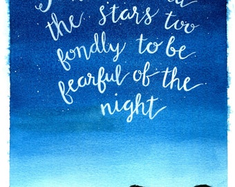 Watercolor night sky stars quote