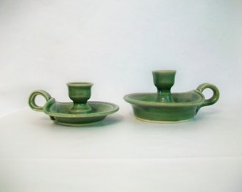 Candlestick Holders  with Handle - Green - Smaller or Larger  - or the Set of 2 -- Handmade on the Potters Wheel -- Ready to Ship