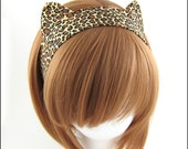 Cat Ears Headband Leopard Print Fabric Headband