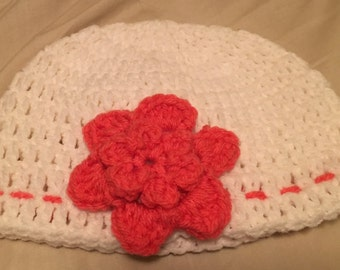 Cute Crochet White Hat with Pink Flower