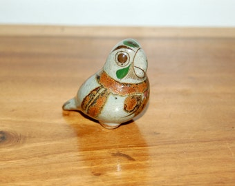 Vintage Tonala Stoneware Parrot Figurine by Jorge Wilmot ~ signed on base ~ Mexican Folk Art ~ Excellent Condition ~ 2nd of 3