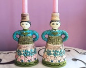 Vintage 60s MOD Paper Mache Doll Candlestick Holders