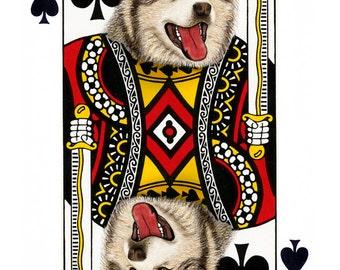 Alaskan Malamute King of Spades Handmade Card