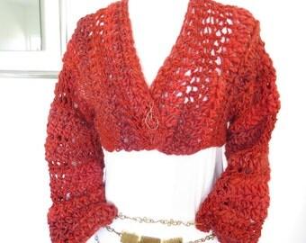 Short Orange Bolero, Hand Crochet Cropped Shrug Sweater
