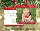 Baby's First Christmas Personalized Double Sided Photo Metal Ornament