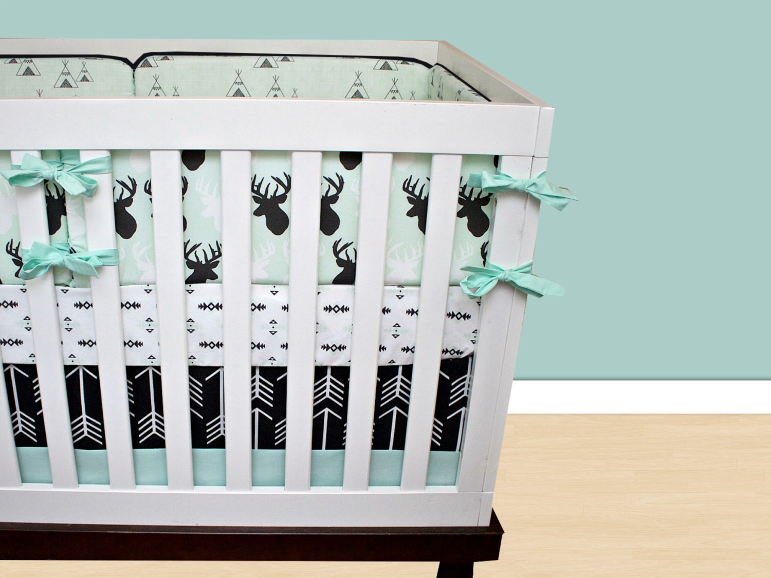 deer crib bedding baby boy bedding cribset mint black and