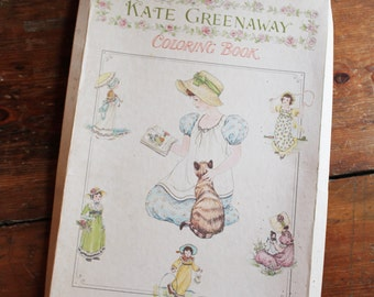 Vintage 1950's Kate Greenaway Coloring Book - Beautiful 1800's Girl's in Period Dress - UNUSED