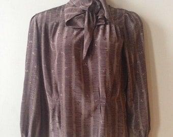 Vintage Blouse Brown Silky Secretary Top Scarf Neck Tie XL Women Shirt