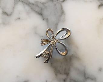 Silver Tone Bow Brooch Pin