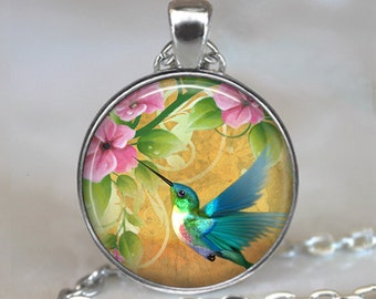 Hummingbird Garden necklace, hummingbird pendant, hummingbird necklace, summer jewelry hummingbird jewelry key chain