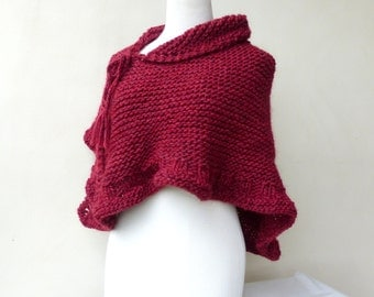 Red shawl Maroon Hand knitted wrap Knit Cape Chunky knit scarf  Red Poncho Burgundy shawl