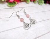 Pink Lotus Earrings, Cherry Quartz Earrings - Clearance